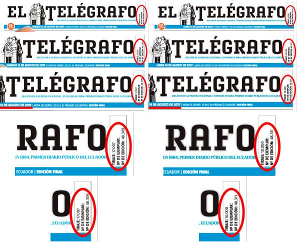 EL TELEGRAFO tiraje 17000 10000